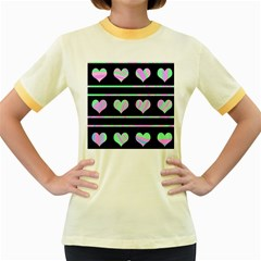 Pastel harts pattern Women s Fitted Ringer T-Shirts
