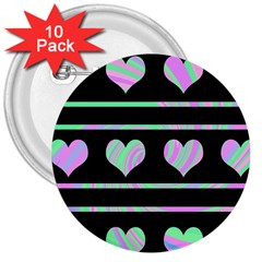 Pastel harts pattern 3  Buttons (10 pack)