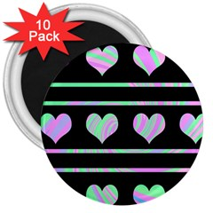 Pastel harts pattern 3  Magnets (10 pack)