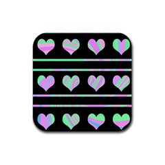 Pastel harts pattern Rubber Square Coaster (4 pack)