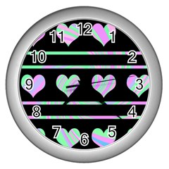 Pastel harts pattern Wall Clocks (Silver)