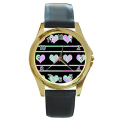 Pastel harts pattern Round Gold Metal Watch