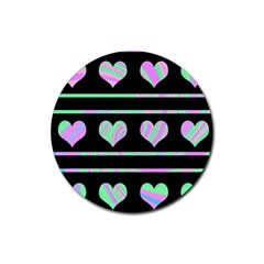 Pastel harts pattern Rubber Coaster (Round)