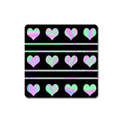 Pastel harts pattern Square Magnet