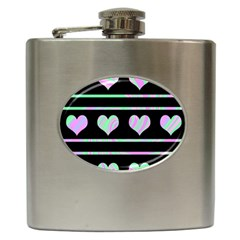 Pastel harts pattern Hip Flask (6 oz)