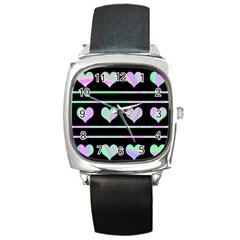 Pastel harts pattern Square Metal Watch