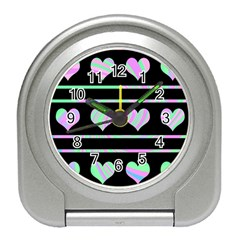Pastel harts pattern Travel Alarm Clocks