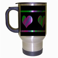 Pastel harts pattern Travel Mug (Silver Gray)