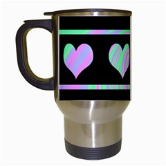 Pastel harts pattern Travel Mugs (White)