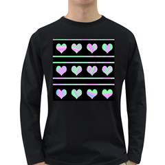 Pastel harts pattern Long Sleeve Dark T-Shirts