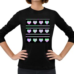 Pastel harts pattern Women s Long Sleeve Dark T-Shirts