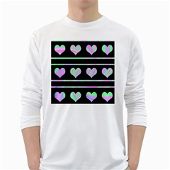 Pastel harts pattern White Long Sleeve T-Shirts