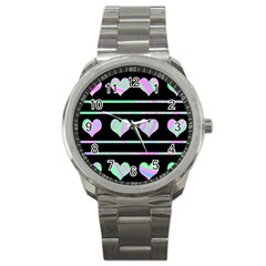 Pastel harts pattern Sport Metal Watch