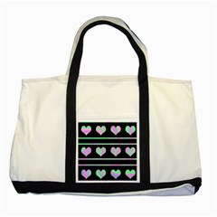 Pastel harts pattern Two Tone Tote Bag