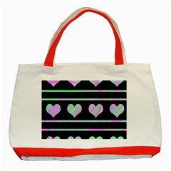 Pastel harts pattern Classic Tote Bag (Red)