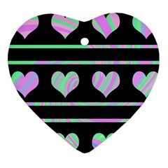 Pastel harts pattern Heart Ornament (2 Sides)