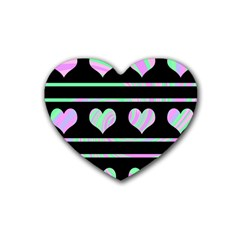 Pastel harts pattern Rubber Coaster (Heart)