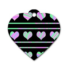Pastel harts pattern Dog Tag Heart (Two Sides)