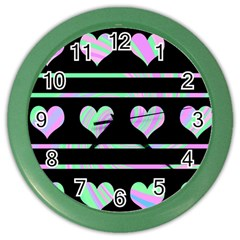 Pastel harts pattern Color Wall Clocks