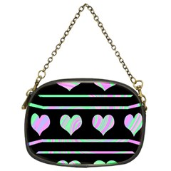 Pastel harts pattern Chain Purses (One Side)