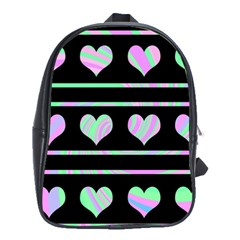 Pastel harts pattern School Bags(Large)