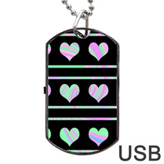 Pastel harts pattern Dog Tag USB Flash (One Side)