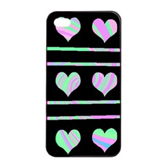 Pastel harts pattern Apple iPhone 4/4s Seamless Case (Black)