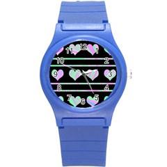 Pastel harts pattern Round Plastic Sport Watch (S)