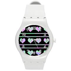 Pastel harts pattern Round Plastic Sport Watch (M)