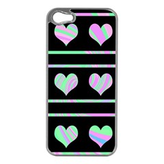 Pastel harts pattern Apple iPhone 5 Case (Silver)