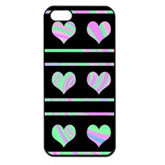 Pastel harts pattern Apple iPhone 5 Seamless Case (Black)