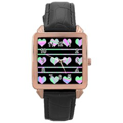 Pastel harts pattern Rose Gold Leather Watch