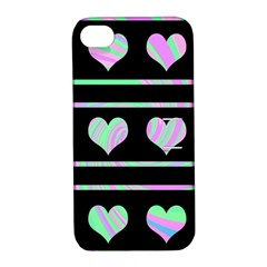 Pastel harts pattern Apple iPhone 4/4S Hardshell Case with Stand
