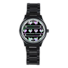 Pastel harts pattern Stainless Steel Round Watch