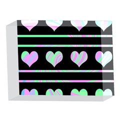 Pastel harts pattern 5 x 7  Acrylic Photo Blocks
