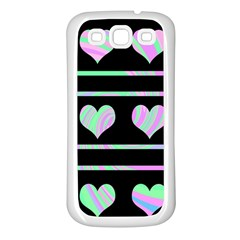 Pastel harts pattern Samsung Galaxy S3 Back Case (White)