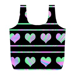 Pastel harts pattern Full Print Recycle Bags (L)