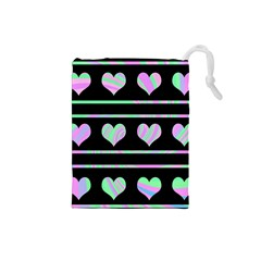 Pastel harts pattern Drawstring Pouches (Small)