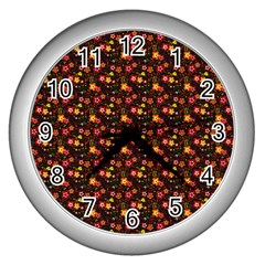 Exotic Colorful Flower Pattern Wall Clocks (Silver)