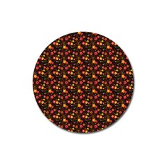 Exotic Colorful Flower Pattern Magnet 3  (Round)