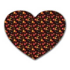 Exotic Colorful Flower Pattern Heart Mousepads