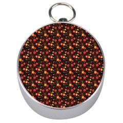 Exotic Colorful Flower Pattern Silver Compasses