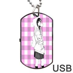 Cute Anime Girl Dog Tag USB Flash (One Side)