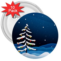 Christmas Xmas Fall Tree 3  Buttons (10 pack)