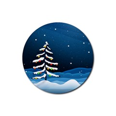 Christmas Xmas Fall Tree Rubber Coaster (Round)