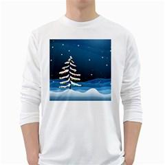 Christmas Xmas Fall Tree White Long Sleeve T-Shirts