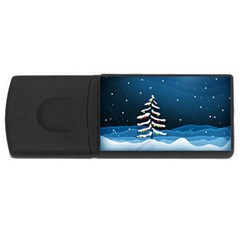 Christmas Xmas Fall Tree USB Flash Drive Rectangular (4 GB)