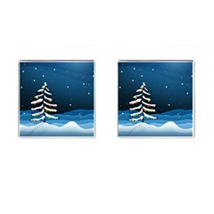 Christmas Xmas Fall Tree Cufflinks (Square)