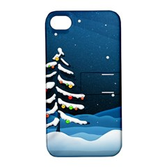 Christmas Xmas Fall Tree Apple iPhone 4/4S Hardshell Case with Stand