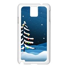 Christmas Xmas Fall Tree Samsung Galaxy Note 3 N9005 Case (White)